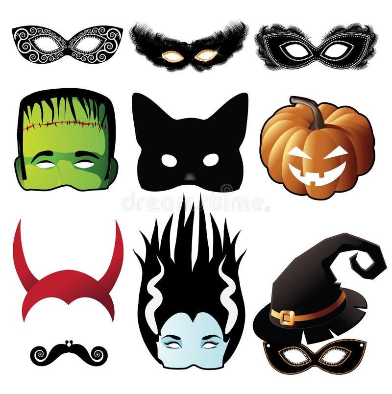 Halloween maski kolekcja odizolowywająca na bielu ilustracji