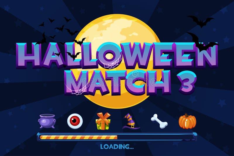Halloween match3 sur le fond Placez les icônes et le jeu de chargement, GUI Graphic Assets illustration stock