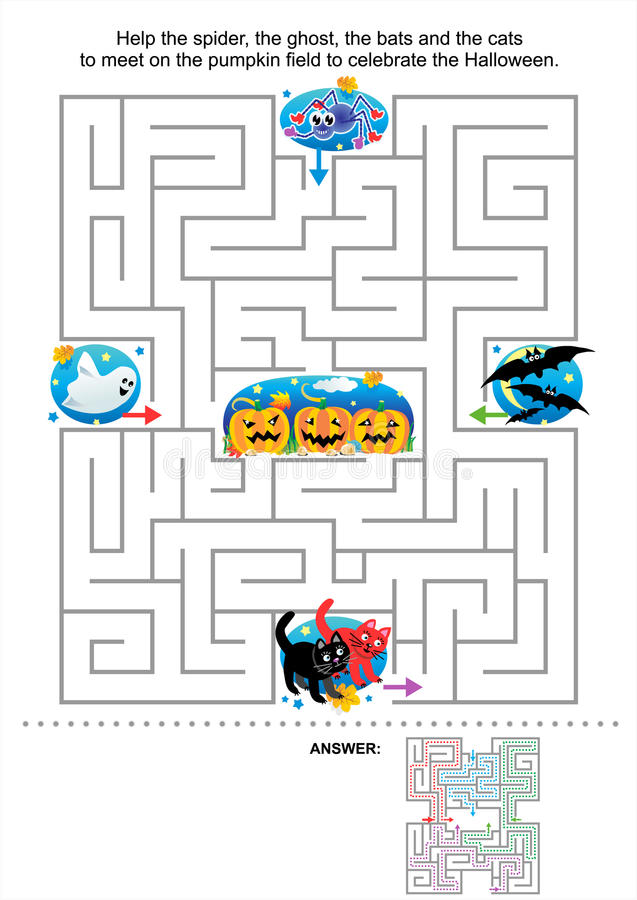 Free Halloween Maze Game For Kids Royalty Free Stock Image - 26558066