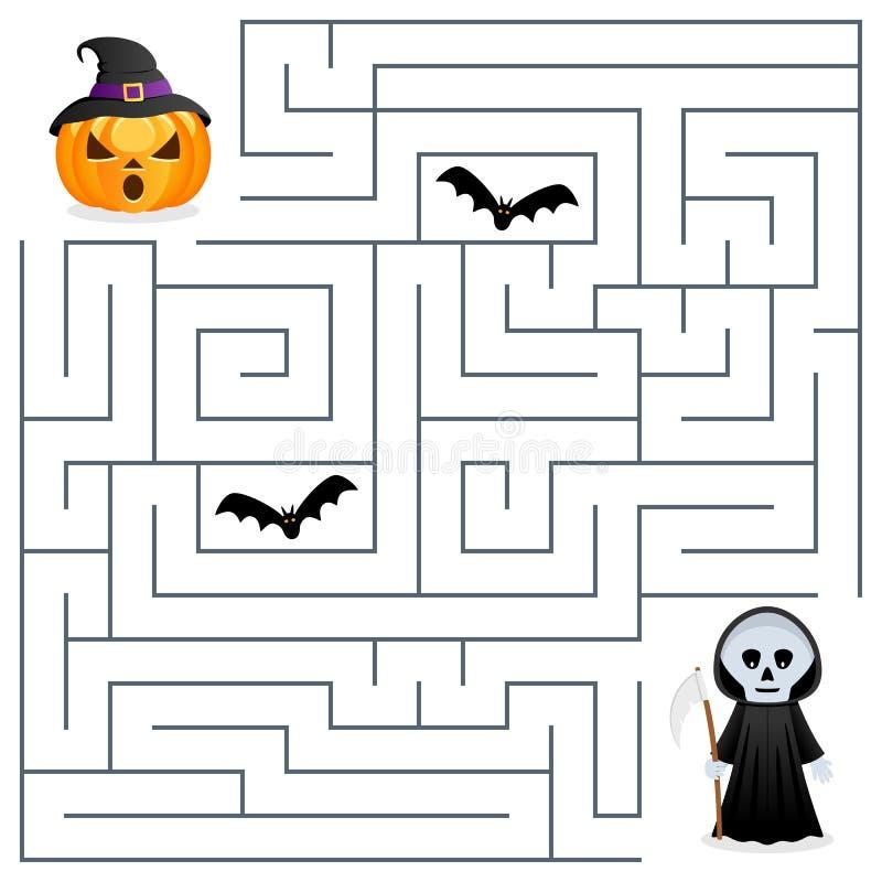 Halloween Maze - Grim Reaper & Pumpkin vector illustration