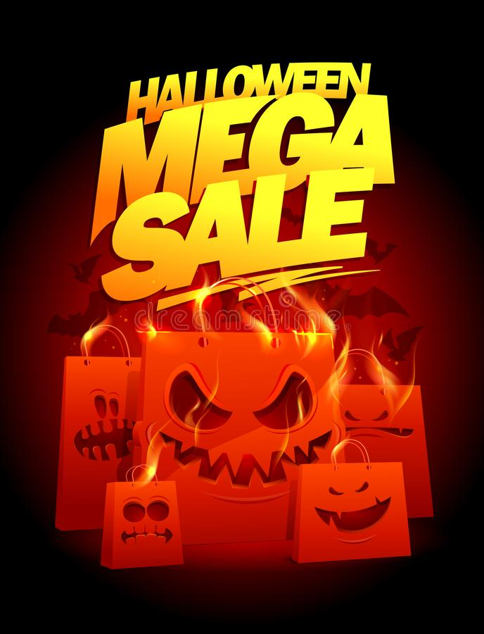 Halloween mega sale vector banner design with burning paper bags. Halloween mega sale vector banner design with evil burning paper bags vector illustration