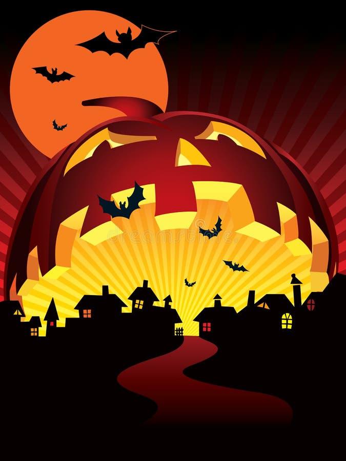 halloween miasteczko ilustracji