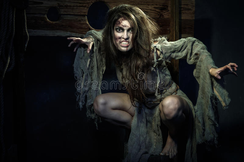 Halloween. The Middle Ages. Scary witch stock images