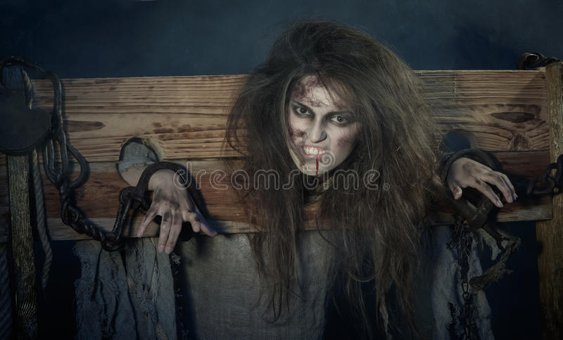 Halloween. The Middle Ages. Witch sign a verdict of the Inquisit royalty free stock images