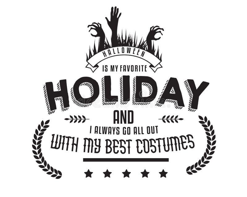 Halloween is mijn favoriete vakantie en ik ga altijd allen met mijn beste kostuums uit royalty-vrije illustratie