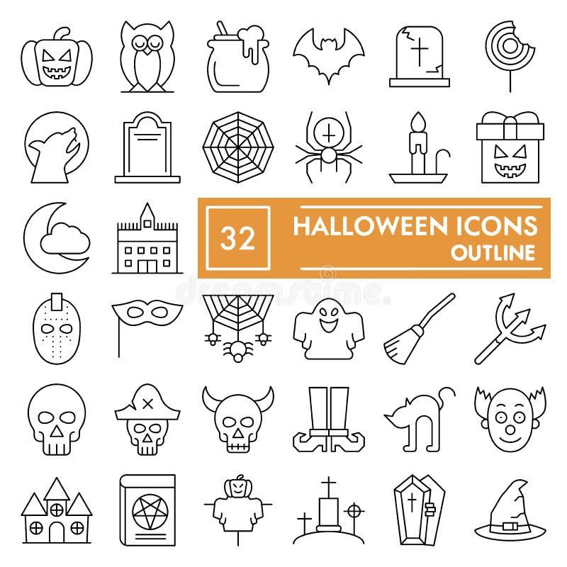 _Halloween mince ligne icône ensemble, vacance symbole collection, vecteur croquis, logo illustration, effrayant signe linéaire illustration de vecteur