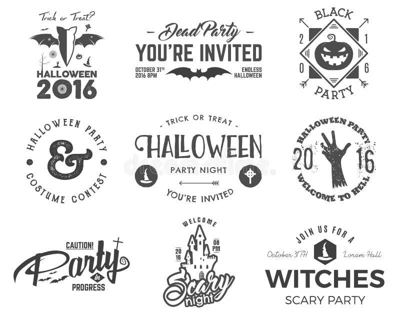 Halloween 2016 modelli dell'etichetta del partito con i simboli spaventosi - mano dello zombie, cappello della strega, pipistrell royalty illustrazione gratis