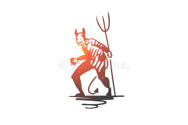 Halloween, monster, duivel, eng, hooivorkconcept Hand getrokken geïsoleerde vector vector illustratie