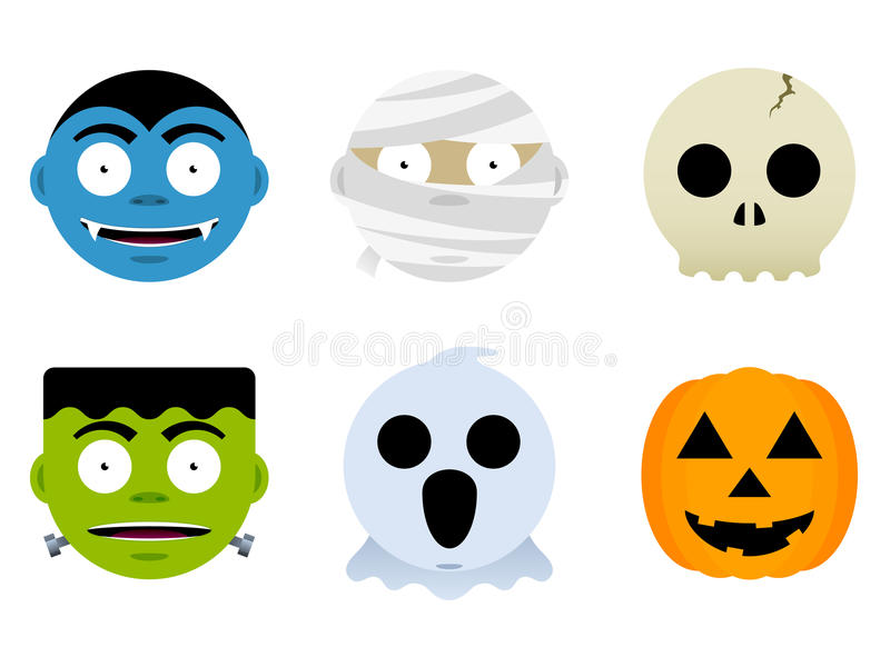 Halloween Monster Faces. A set of six classic monster faces for halloween vector illustration