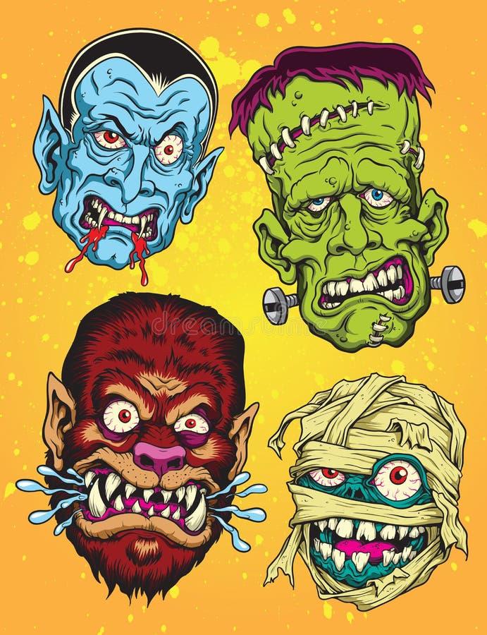 Halloween Monster Heads. Halloween Monster Head Vector Set royalty free illustration