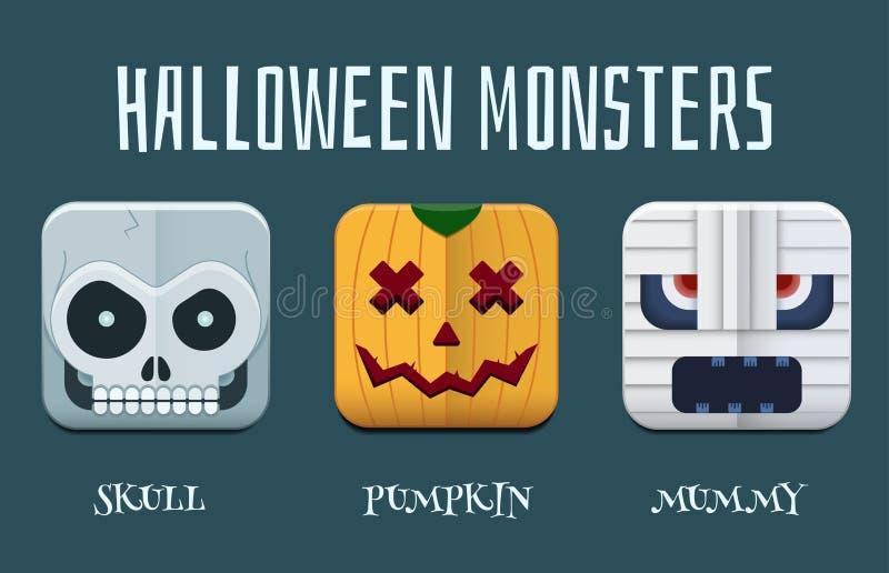 Halloween Monster Icon Set stock illustration