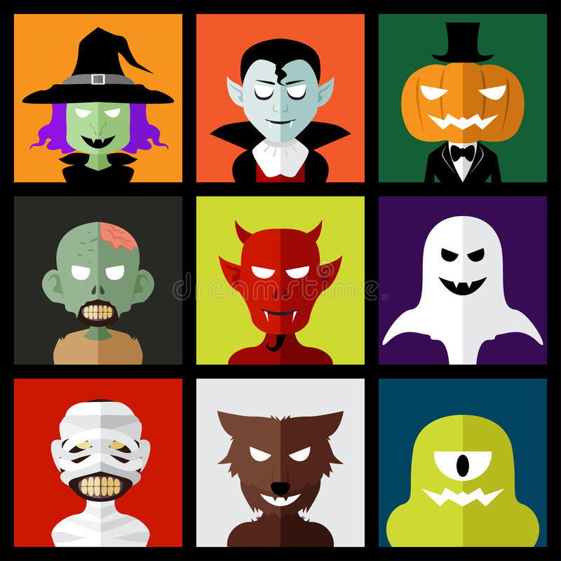 Halloween monster icons. A vector illustration of Halloween monster icons royalty free illustration
