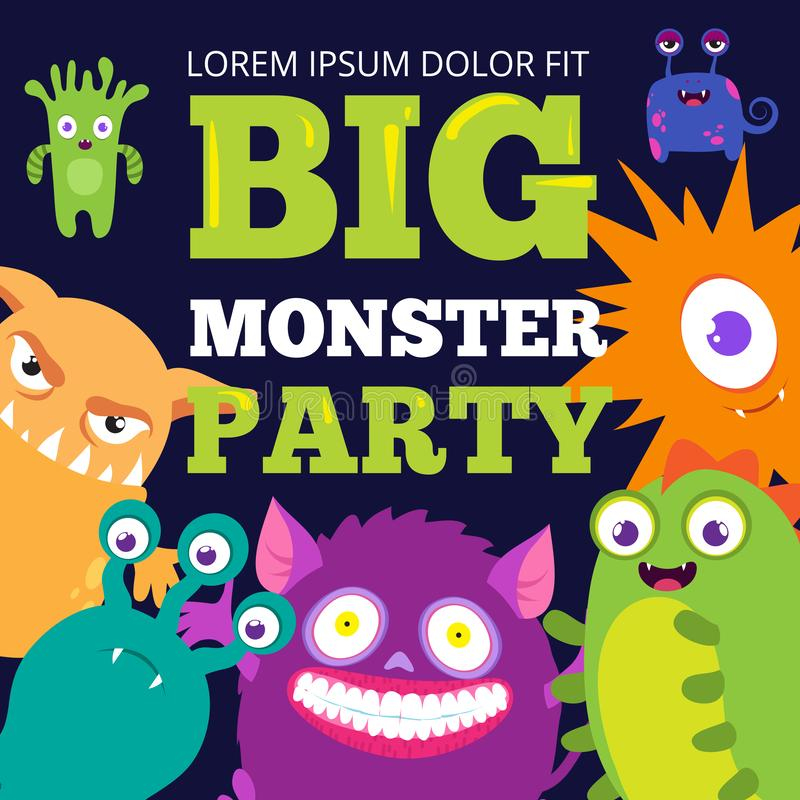 Halloween monster party banner template with cute cartoon characters vector illustration