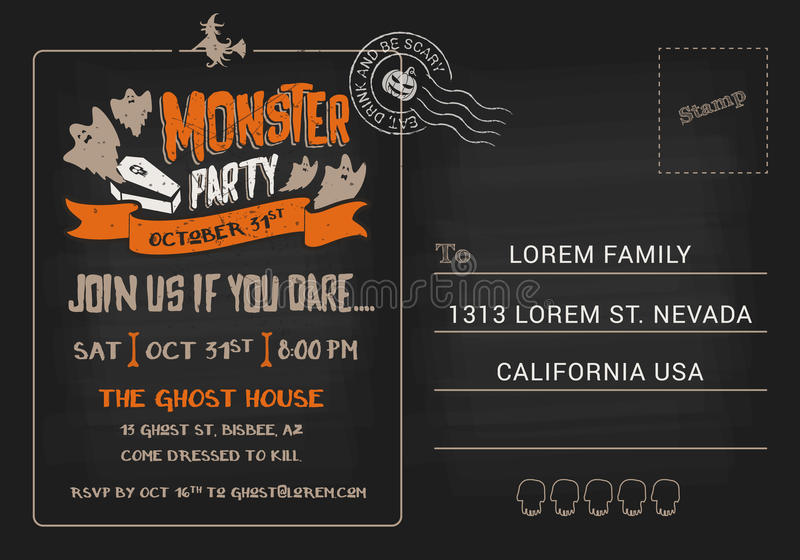 Halloween Monster Party postcard invitation template. stock illustration