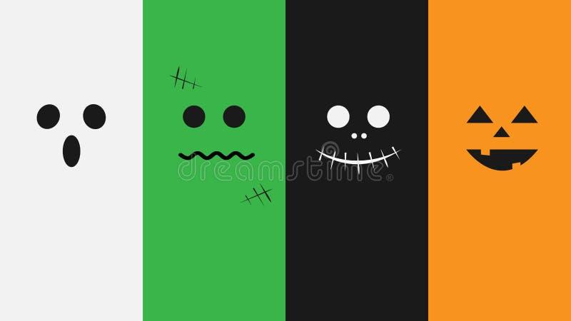 Halloween-Monstergesichtsillustration stockfotos