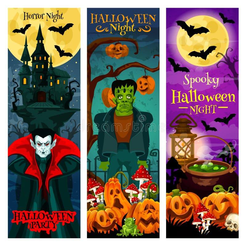 Halloween-Monsterparteieinladungs-Fahnendesign stock abbildung