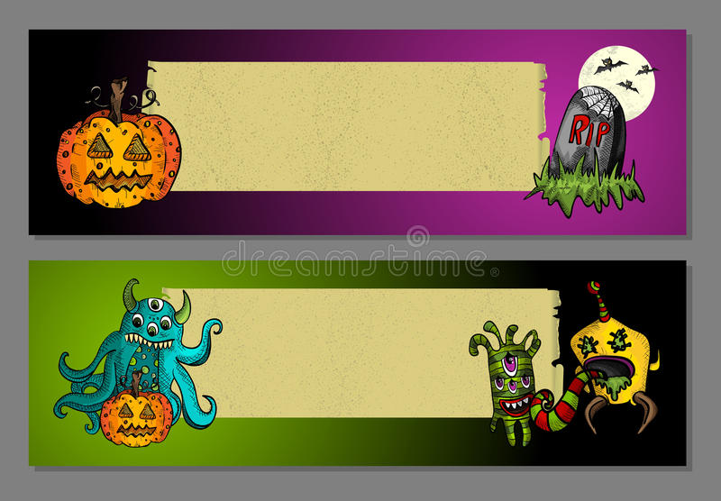 Halloween monsters blank space web banners set EPS10 file. stock images