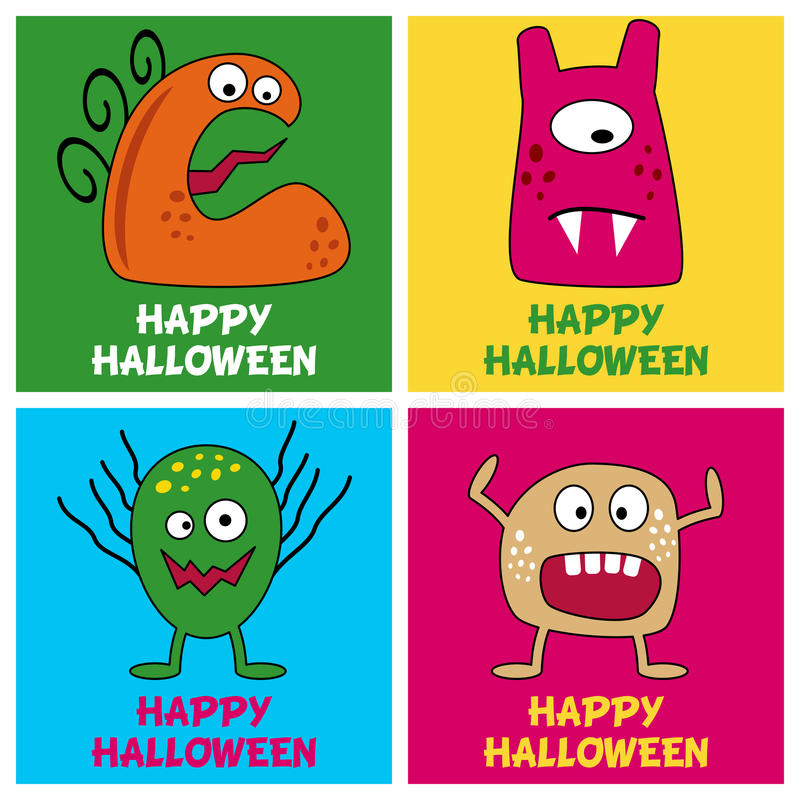 Free Halloween Monsters Greeting Cards [2] Stock Photography - 44776452