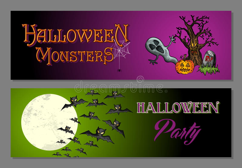 Halloween monsters happy party web banners set EPS10 file. stock image
