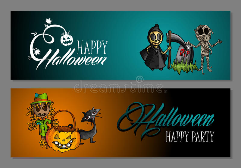 Halloween monsters happy party web banners set EPS10 file. stock photography