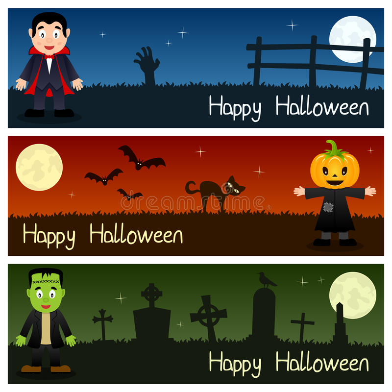 Free Halloween Monsters Horizontal Banners [1] Stock Images - 44723964