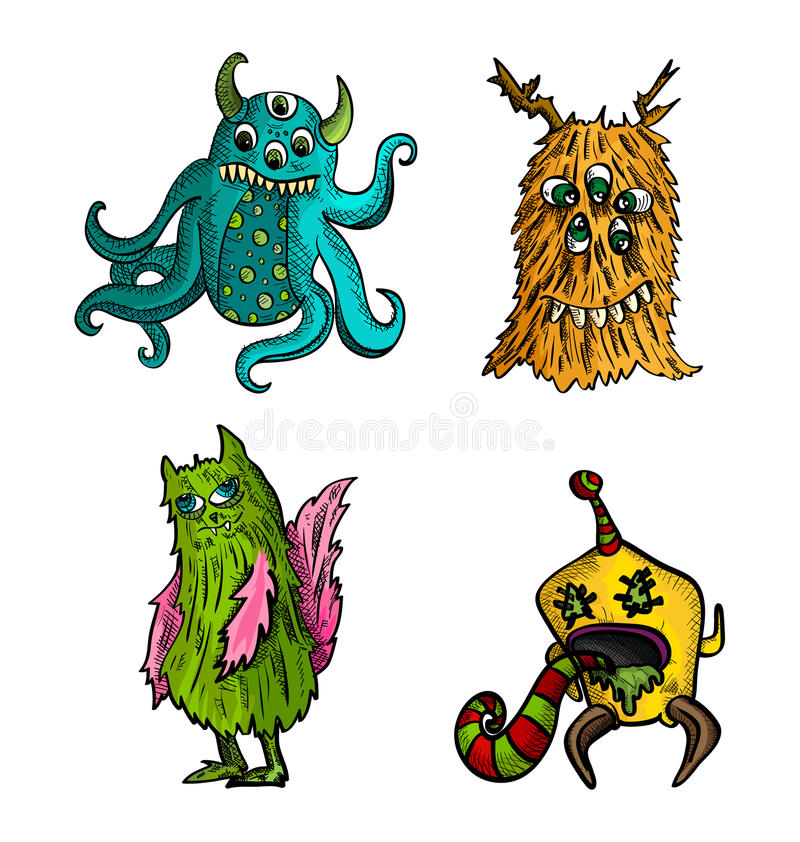 Halloween monsters isolated sketch style creatures set. stock images