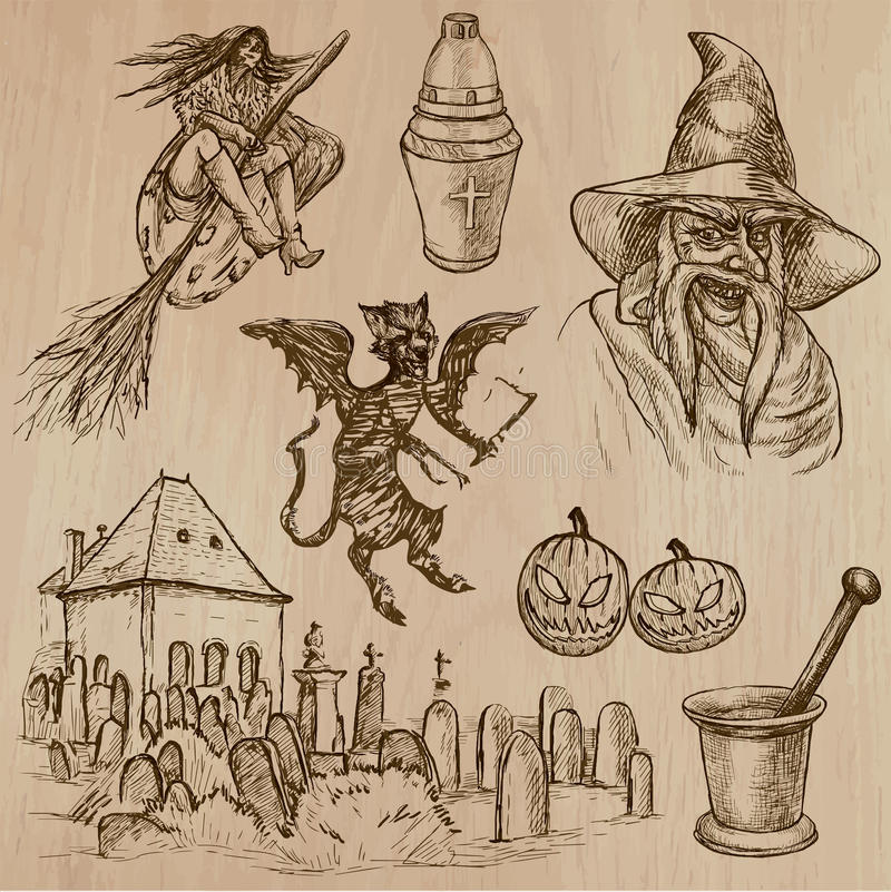 Halloween, Monsters, Magic - Vector collection. Halloween (Monsters, Magic and Fairy Tales) - Collection (no.19) of an hand drawn illustrations. Description stock illustration