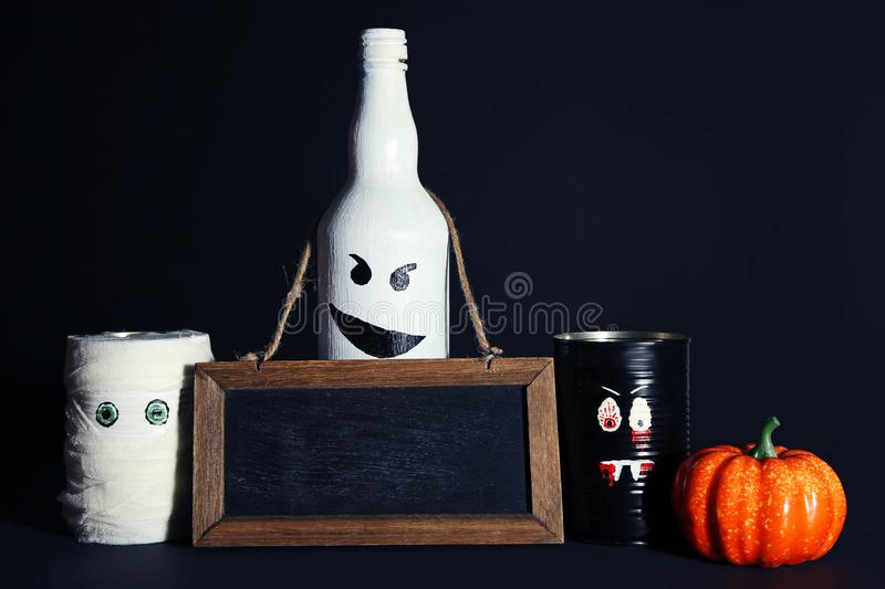 Monsters with pumpkin and frame stock photography