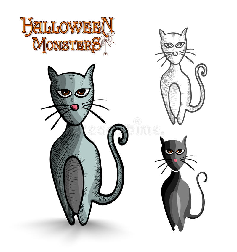 Halloween monsters scary cartoon black cat EPS10 f royalty free stock photos