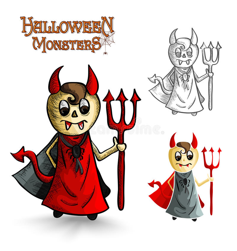 Halloween monsters scary cartoon devil man EPS10 f royalty free stock photo