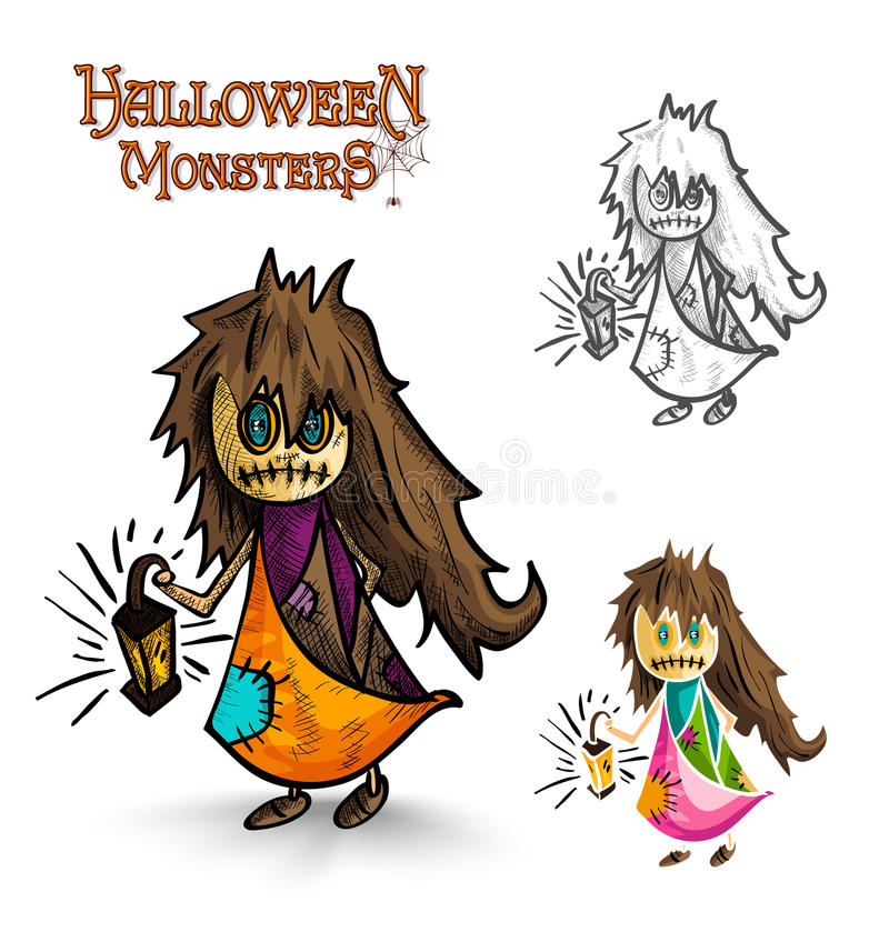 Halloween monsters scary cartoon dirty witch EPS10 stock image