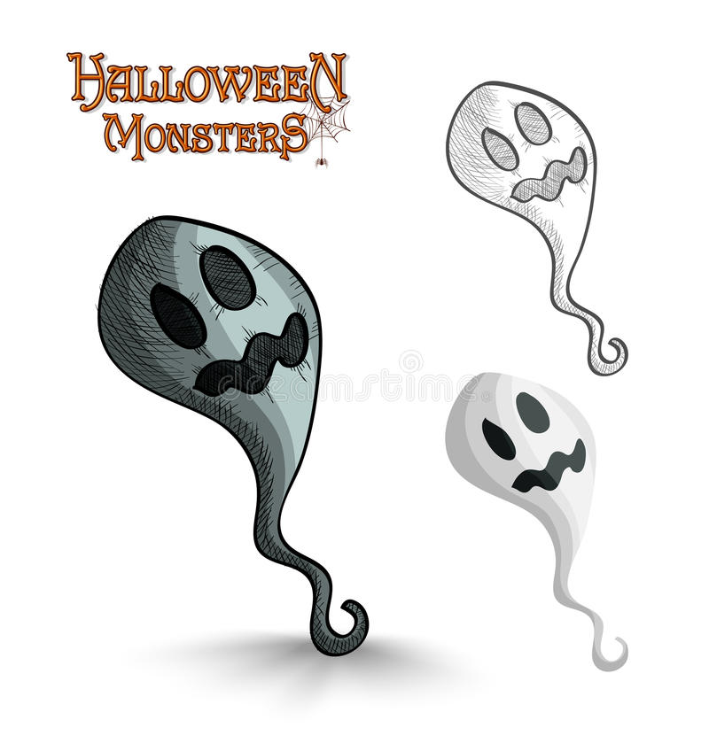 Halloween monsters scary cartoon ghost EPS10 file. royalty free stock photos