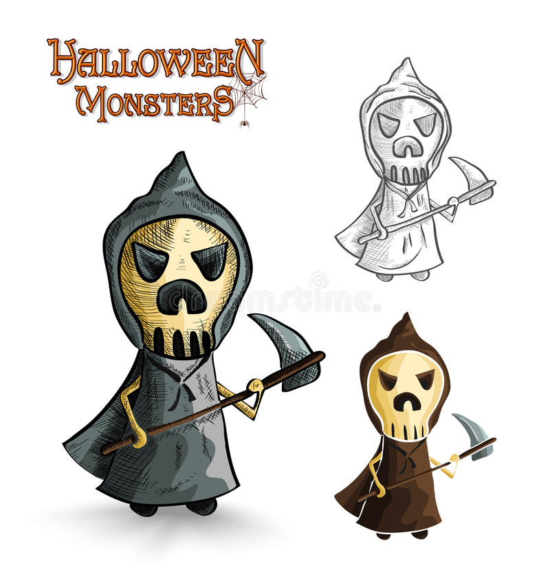 Halloween monsters scary cartoon grim reaper EPS10 royalty free stock images