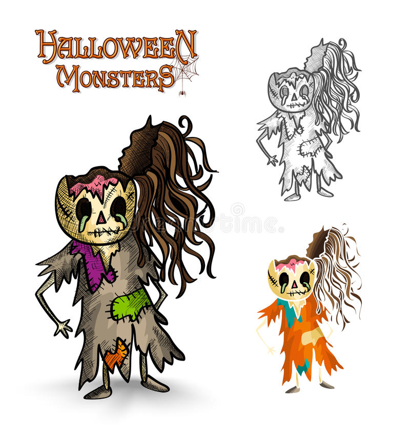 Halloween monsters scary cartoon rotten zombie EPS royalty free stock photos