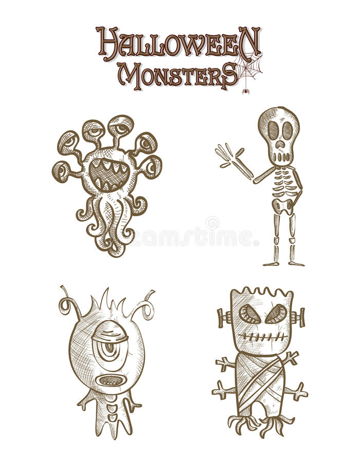 Halloween monsters scary sketch style cartoons set stock photos