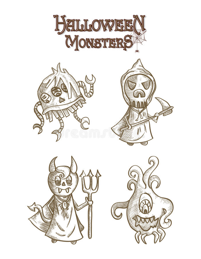 Halloween monsters scary sketch style cartoons set stock photography
