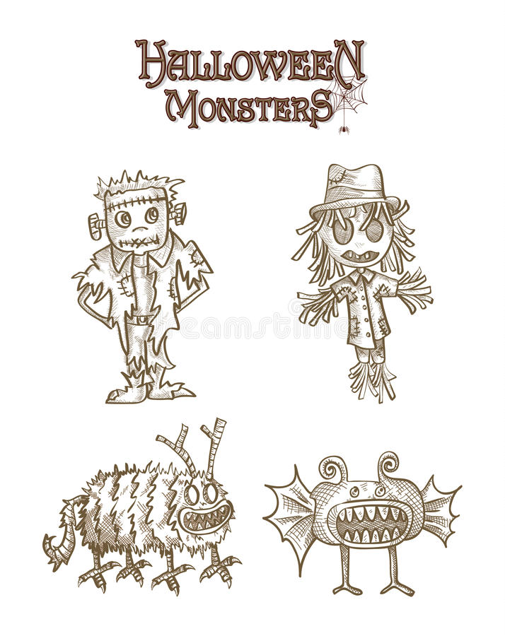 Halloween Monsters spooky characters set EPS10 file. royalty free stock photos