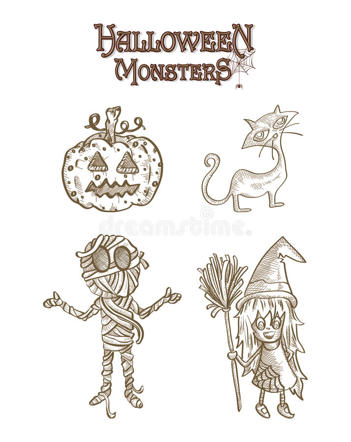 Halloween Monsters spooky characters set EPS10 file. royalty free stock photo