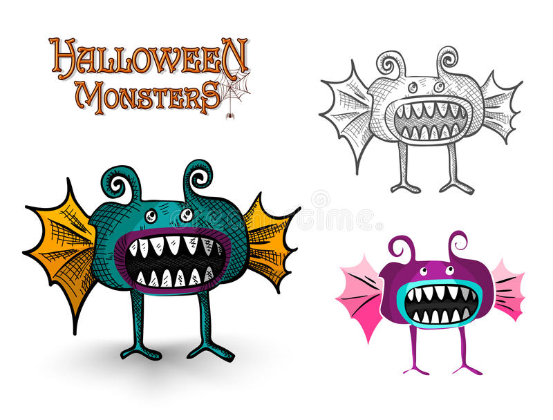 Halloween Monsters spooky creature illustration EPS10 file royalty free stock images
