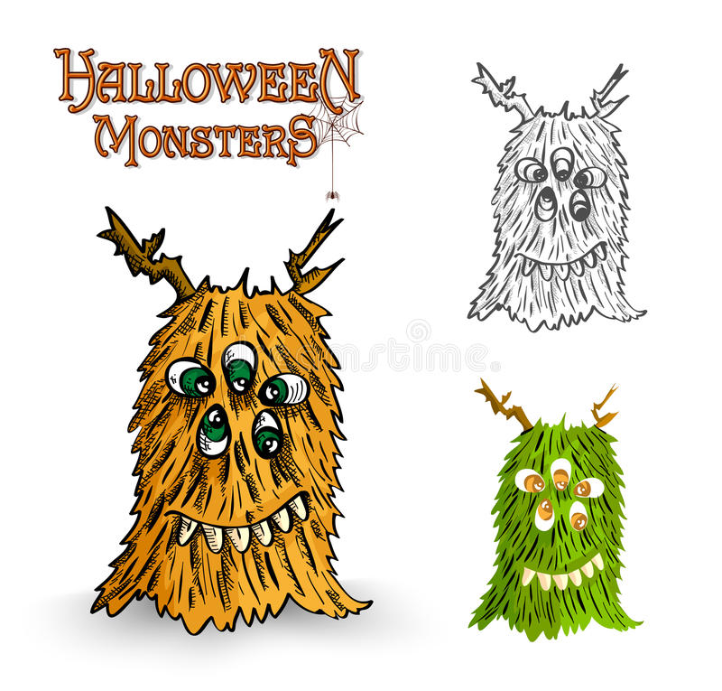 Halloween monsters spooky creature illustration EPS10 file stock photo