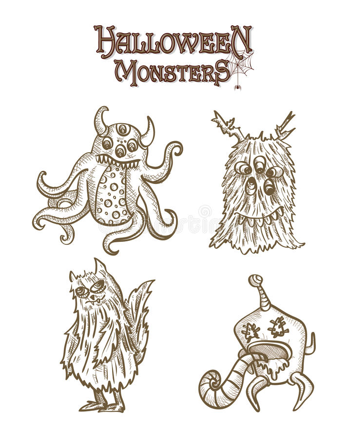Halloween Monsters spooky elements set EPS10 file. stock photo