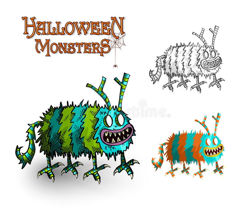 Halloween Monsters spooky elements set EPS10 file. stock photography
