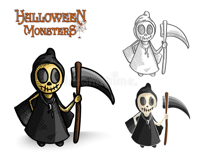 Halloween monsters spooky reaper illustration EPS1 royalty free stock photos