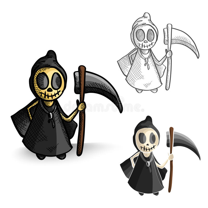 Halloween monsters spooky reapers set. royalty free stock images