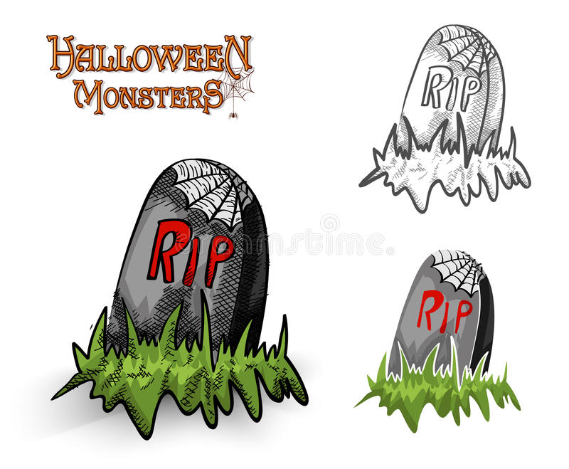 Halloween monsters spooky tombstone illustration EPS10 file royalty free stock images
