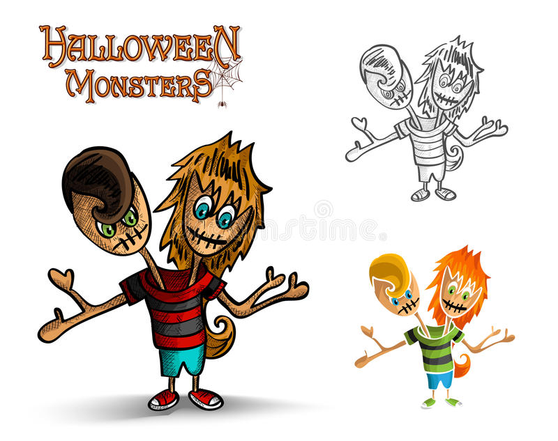 Halloween monsters spooky two heads zombie EPS10 f stock images