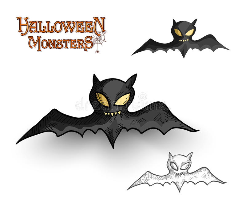 Halloween monsters spooky vampire bat illustration EPS10 file royalty free stock images