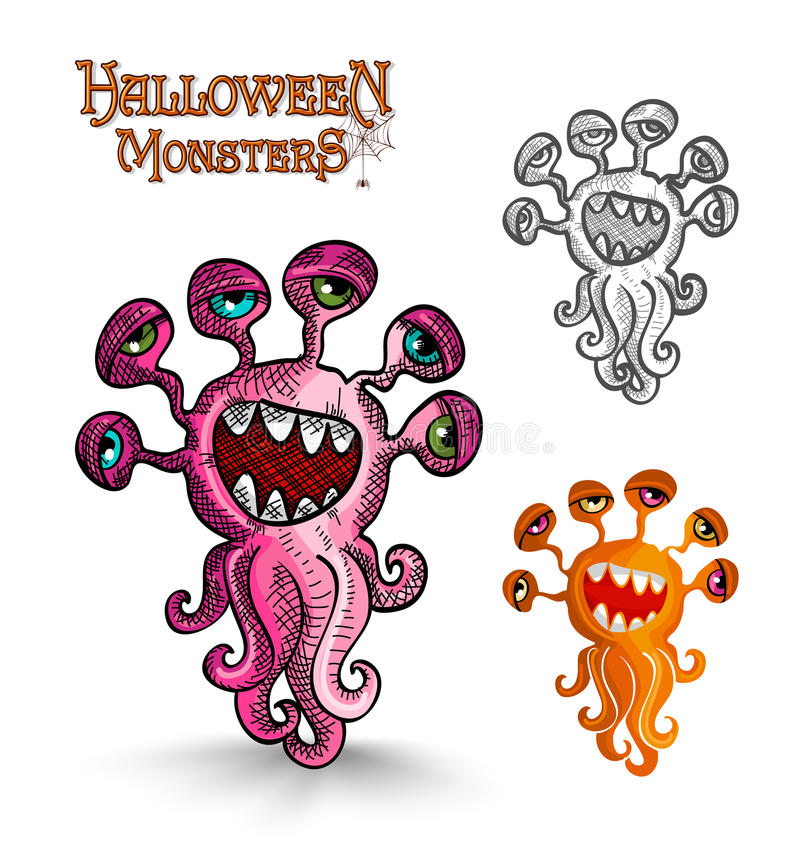 Halloween monsters weird eyes squid EPS10 file. royalty free stock photo