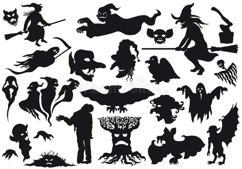 halloween monstersilhouettes vektor illustrationer