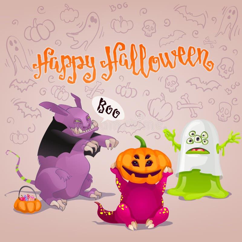 Halloween-monsterskaart stock illustratie